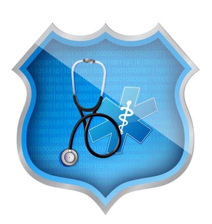 medical shield illustration design over a white background
