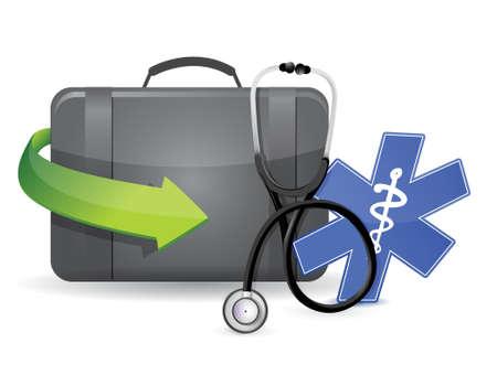 medical equipment: doctors suitcase equipment illustration design over a white background Illustration