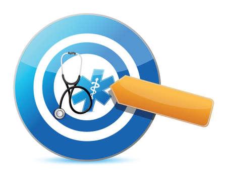richten op een goede gezondheid concept met een stethoscoop illustratie ontwerp op wit