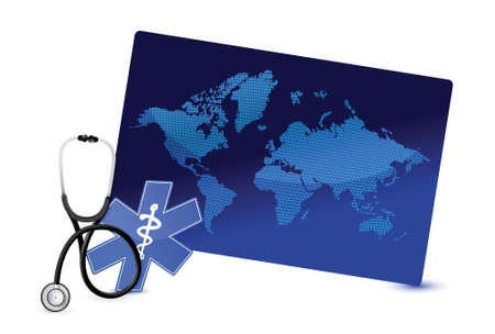 world map board internet concept with a Stethoscope illustration design over white Stock Vector - 18995465