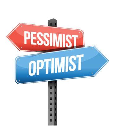 pessimist: pessimist, optimist, road sign illustration design over a white background Illustration