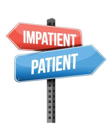 impatient: impatient, conception d'illustration de signe de route patient sur un fond blanc