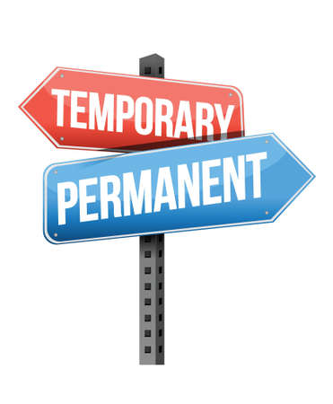 synonym: temporary, permanent road sign illustration design over a white background