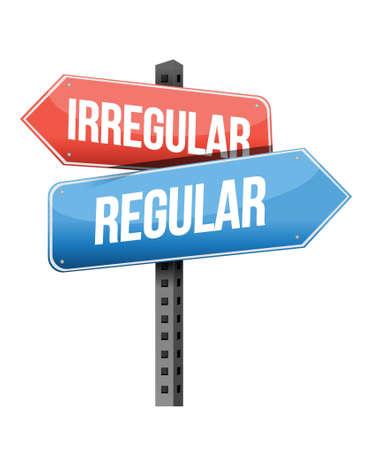 previews: irregular, regular road sign illustration design over a white background