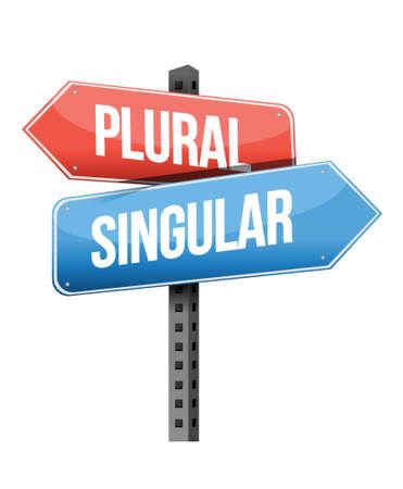previews: plural, singular road sign illustration design over a white background