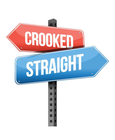 previews: crooked, straight road sign illustration design over a white background Illustration