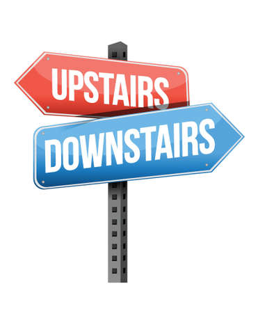 upstairs: upstairs, downstairs road sign illustration design over a white background