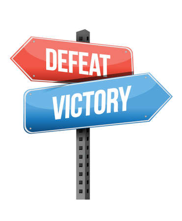 defeat, victory road sign illustration design over a white background
