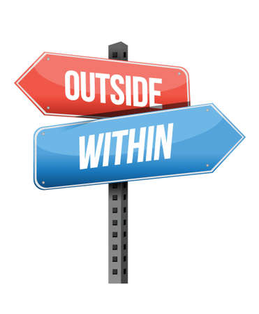 within: outside, within road sign illustration design over a white background