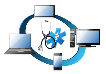 computer screen: medical network concept illustration design over a white background