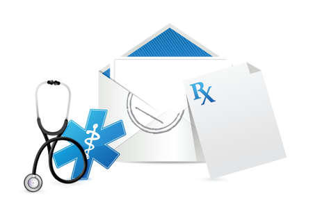 medical prescription envelope letter illustration design over a white background Vector