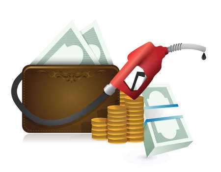 car gas: money wallet with a gas pump nozzle illustration design over a white background Illustration