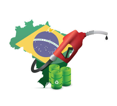 nozzle: brazil alternative oil map with a gas pump nozzle illustration design over a white background