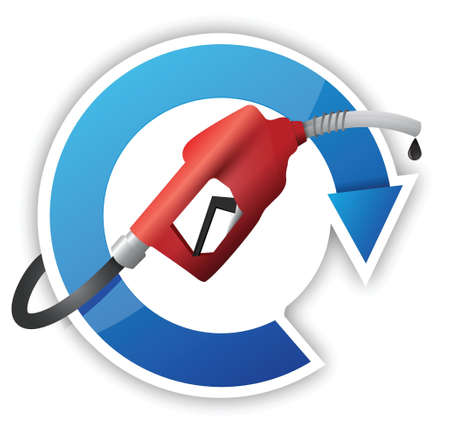 oil change: cycle with a gas pump nozzle illustration design over a white background