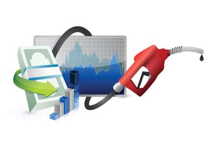 白い背景の上のガス ポンプ ノズルのイラスト デザインと経済概念の上の詰物