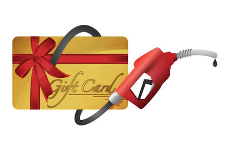 fuel economy: gift card with a gas pump nozzle illustration design over a white background Illustration