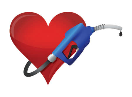 heart with a gas pump nozzle illustration design over a white background