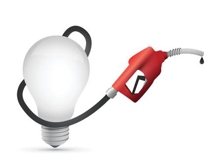 lightbulb with a gas pump nozzle illustration design over a white background Ilustrace