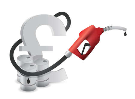 british pound: british pound with a gas pump nozzle illustration design over a white background Illustration