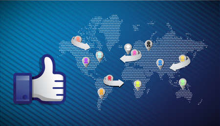 social media network thumb up illustration design over a blue background Stock Photo