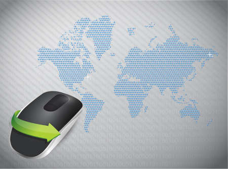 Wireless computer mouse isolated on a global grey background Imagens