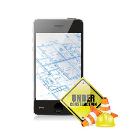 technology blueprint under construction illustration design over a white background Illustration