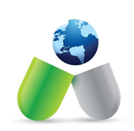 globe pill illustration design over a white background