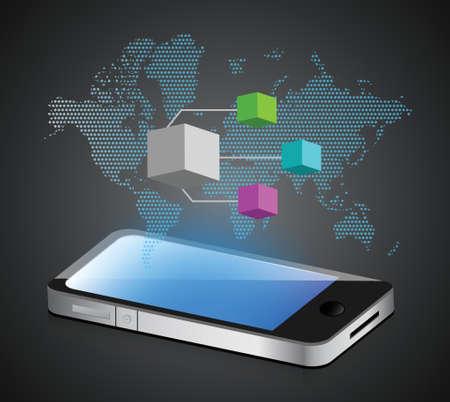 smartphone diagram illustration design over a white background