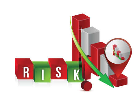 downsizing: down risk graph illustration design over a white background