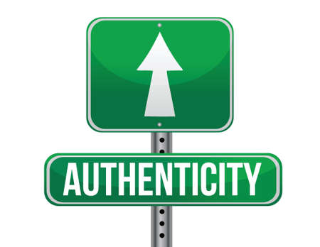 previews: authenticity road sign illustration design over a white background