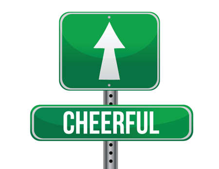 previews: cheerful road sign illustration design over a white background