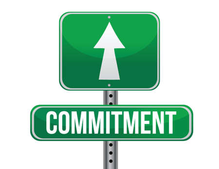 commit: commitment road sign illustration design over a white background Illustration