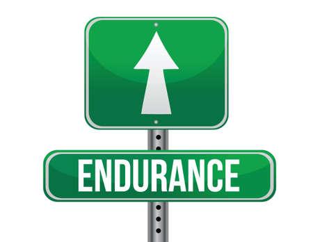 endure: endurance road sign illustration design over a white background Illustration