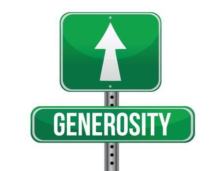 generosity: signo generosidad carretera diseño ilustración sobre un fondo blanco
