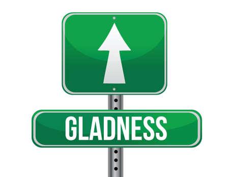 gladness: gladness road sign illustration design over a white background
