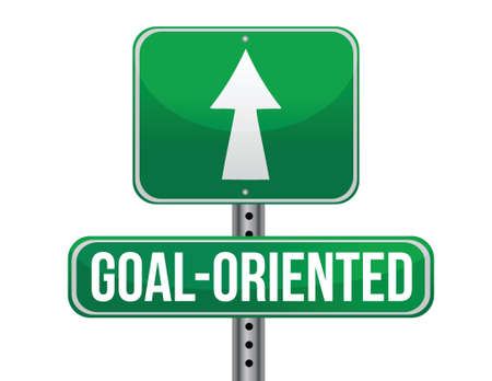 goal oriented: goal-oriented road sign illustration design over a white background