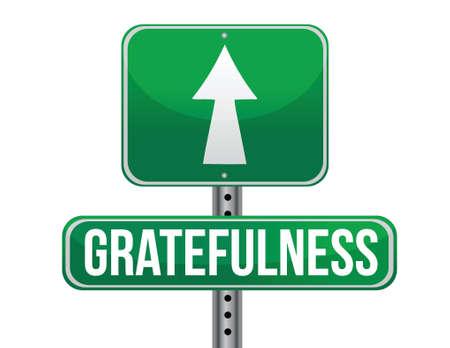 gratefulness: signo agradecimiento carretera dise�o ilustraci�n sobre un fondo blanco
