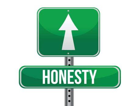 honestidad: signo honestidad carretera diseño ilustración sobre un fondo blanco Vectores