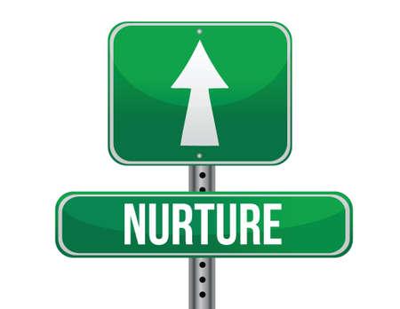 nurture: nurture road sign illustration design over a white background