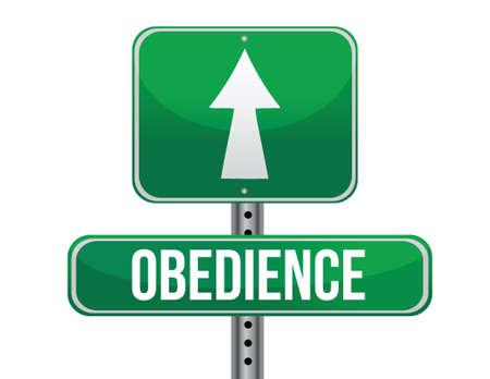 obedience: signo obediencia carretera dise�o ilustraci�n sobre un fondo blanco
