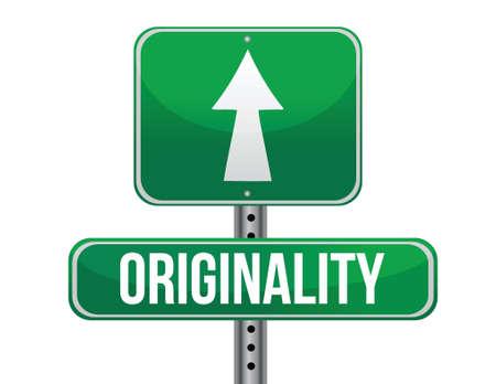 originality: originality road sign illustration design over a white background