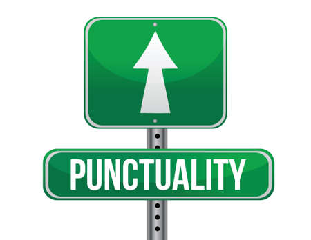 punctuality: punctuality road sign illustration design over a white background