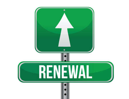 renewal road sign illustration design over a white background Vector