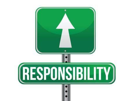 responsabilidad: signo responsabilidad carretera diseño ilustración sobre un fondo blanco