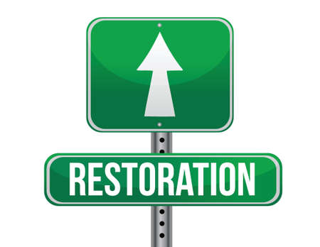 restoration road sign illustration design over a white background Vector