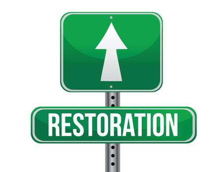previews: restoration road sign illustration design over a white background Illustration