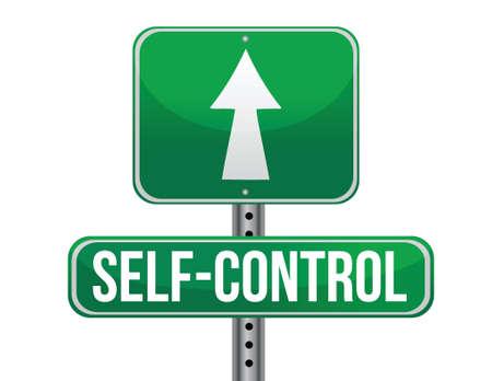 self control road sign illustration design over a white background