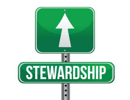 previews: stewardship road sign illustration design over a white background