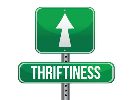 thriftiness road sign illustration design over a white background 일러스트