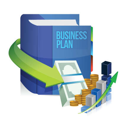 bank book: business plan book, money and graph illustration design over white Illustration